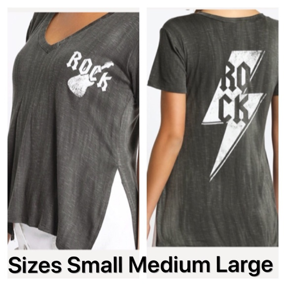 7aefa324a Tops   New Graphic Tees Rock Roll Split Side Top   Poshmark